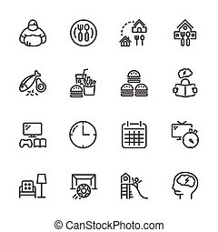állhatatos, ikonok, vektor, hájasság, megelőzés, egyenes, gyermekkor, indokok