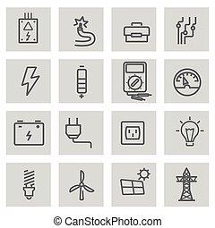 állhatatos, ikonok, villanyáram, vektor, fekete, egyenes