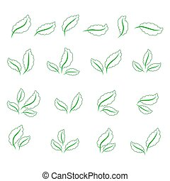 állhatatos, ikonok, zöld, elszigetelt, zöld háttér, fehér