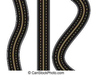 állhatatos, illustration., egyenes, turns., sárga, háttér., különféle, közútak, mintázat, fehér