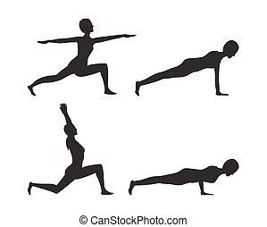 állhatatos, jóga, ábra, vektor, árnykép, beállít
