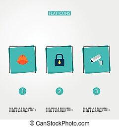 állhatatos, jel, ikonok, ellenőrzés, zár, jelkép, procuring, app, más, mód, háló, lakás, design., sisak, -e, mozgatható