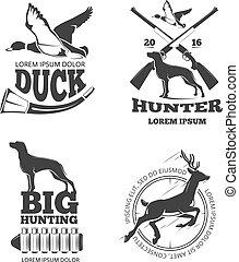állhatatos, jel, vadászat, klub, szüret, elnevezés, vektor, emblémák, jelvény