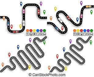 állhatatos, jelzett, ábra, kanyargás, vehicles., közútak, út, navigator., signs., mozgalom