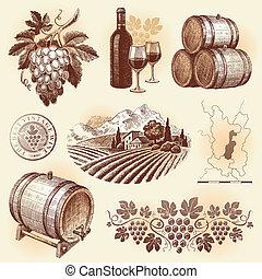 állhatatos, -, kéz, vektor, húzott, winemaking, bor