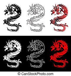 állhatatos, kínai, sárkányok