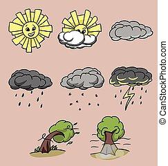 állhatatos, különböző, 8, mód, időjárás, karikatúra