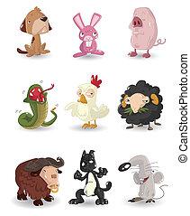 állhatatos, karikatúra, állat icons