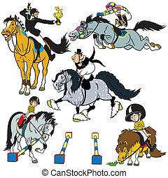 állhatatos, karikatúra, ló riders