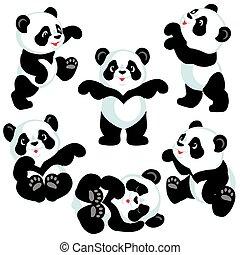 állhatatos, karikatúra, panda