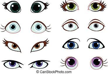 állhatatos, karikatúra, szemek