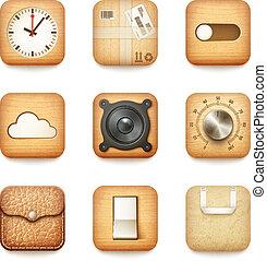 állhatatos, kerek, ikonok, fából való, app, megkorbácsol, dolgozat, textured, társaság