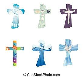 állhatatos, keresztény, crosses., modern, elszigetelt, gyűjtés, kereszt, jelkép, vektor, kereszténység, vallásos, signs.