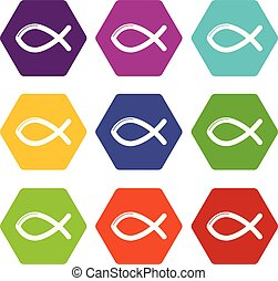 állhatatos, keresztény, ikonok, fish, vektor, 9, jelkép