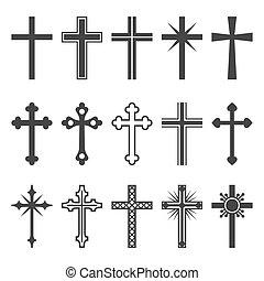 állhatatos, keresztény, ikonok, kereszt, háttér., vektor, fehér