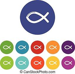 állhatatos, keresztény, ikonok, szín, fish, vektor, jelkép