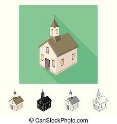 állhatatos, keresztény, illustration., templom, vektor, tervezés, templomtorony, icon., részvény
