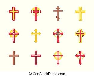 állhatatos, keresztény, kereszt, ikon