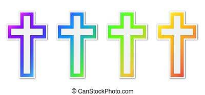 állhatatos, keresztény, kereszt, színes, icons.
