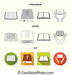 állhatatos, keresztény, stock., jámbor, cél, elszigetelt, vektor, icon., könyv, ikon