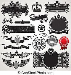 állhatatos, királyi, vektor, választékos, keret, alapismeretek