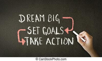 állhatatos, kréta, fog, nagy, akció, kapu, álmodik, rajz