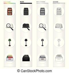 állhatatos, lámpa, könyvtár, előjegyez, monochrom, magasztalás, mód, emelet, könyv, fekete, részvény, polc, jelkép, web., ábra, gyűjtés, pohár, folders., karikatúra, doboz, áttekintés, ikonok, vektor, könyvtár