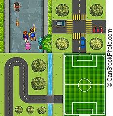állhatatos, labdarúgás, út, antenna, bíróság, színhely