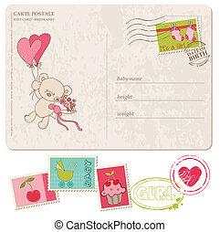 állhatatos, levelezőlap, köszönés, topog, csecsemő lány
