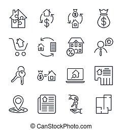 állhatatos, más., épület, stroke., épület, szoba, ikonok, estate., birtok, app, ingatlan, programs:, tényleges, ügynök, editable, icons., beleértve, házhely, hasonló, ingatlanügynök, áttekintés, vektor, otthon, hirdetés