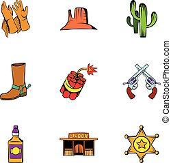 állhatatos, mód, cowboy, karikatúra, ikonok
