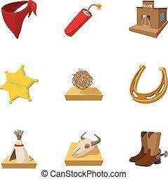 állhatatos, mód, cowboys, karikatúra, ikonok