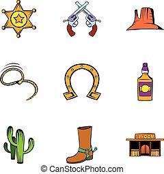állhatatos, mód, karikatúra, seriff, ikonok