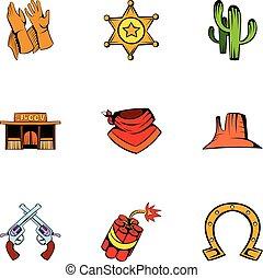 állhatatos, mód, karikatúra, texas, ikonok