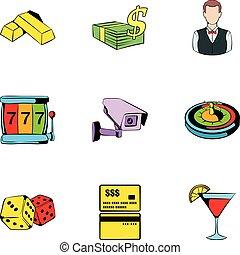 állhatatos, mód, kaszinó, karikatúra, ikonok