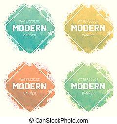állhatatos, művészet, illustration., banner., modern, vízfestmény, vektor, tervezés