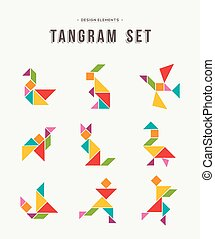 állhatatos, művészet, színes, kreatív, alakzat, tangram, állat