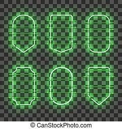 állhatatos, neon, gyakorlatias, izzó, zöld, keret