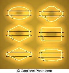 állhatatos, neon, sárga, gyakorlatias, izzó, keret