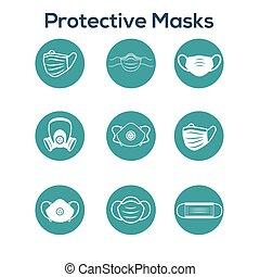 állhatatos, oltalom, ikon, közegészségügy, nyugat, arc, facemask, légzési, ppe, maszk