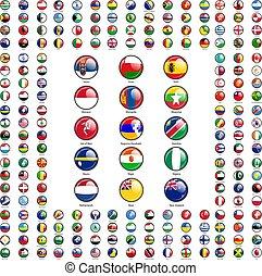 állhatatos, országok, független, cégtábla, egyesült államok, zászlók, címek, világ, karika, ikon
