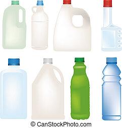 állhatatos, palack, vektor, műanyag