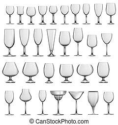 állhatatos, pohár, szemüveg, talpas pohár, üres, bor