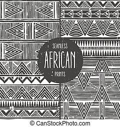 állhatatos, prints., elvont, patterns., seamless, 4, etnikai, monochrom