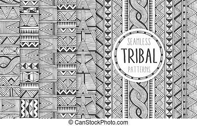 állhatatos, prints., etnikai, törzsi, hat, patterns., modern, seamless, backgrounds., geometriai, elvont