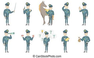 állhatatos, rendőr, fiatal, vektor, ábra, kaukázusi
