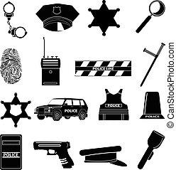 állhatatos, rendőrség, ikonok