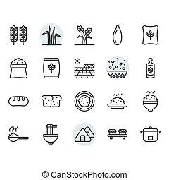 állhatatos, rizs, tervezés, jelkép, ikon, áttekintés