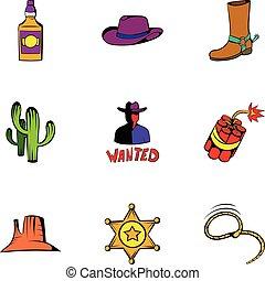 állhatatos, rodeó, ikonok, mód, karikatúra