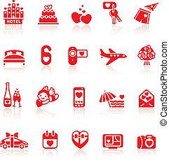 állhatatos, romantikus, valentine's, utazás icons, jelkép, nap, piros